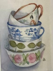 en akvarell målning med olika stora koppar står i och på varandra. Alla koppar har olika mönster