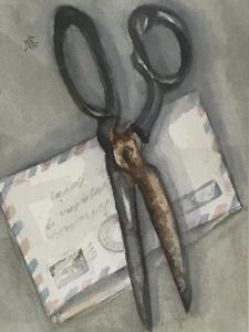 en akvarell målning där en stor sax ligger över ett öppnat gammaldags brev