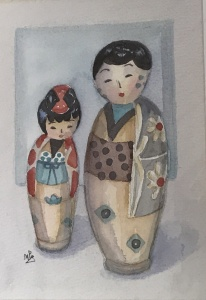 en akvarell målning med en kinesisk kvinna och man