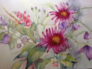 en akvarell målning med sommarblommor såsom lila luktärtor, cerice blommor med gul mitt , rosa lejongap